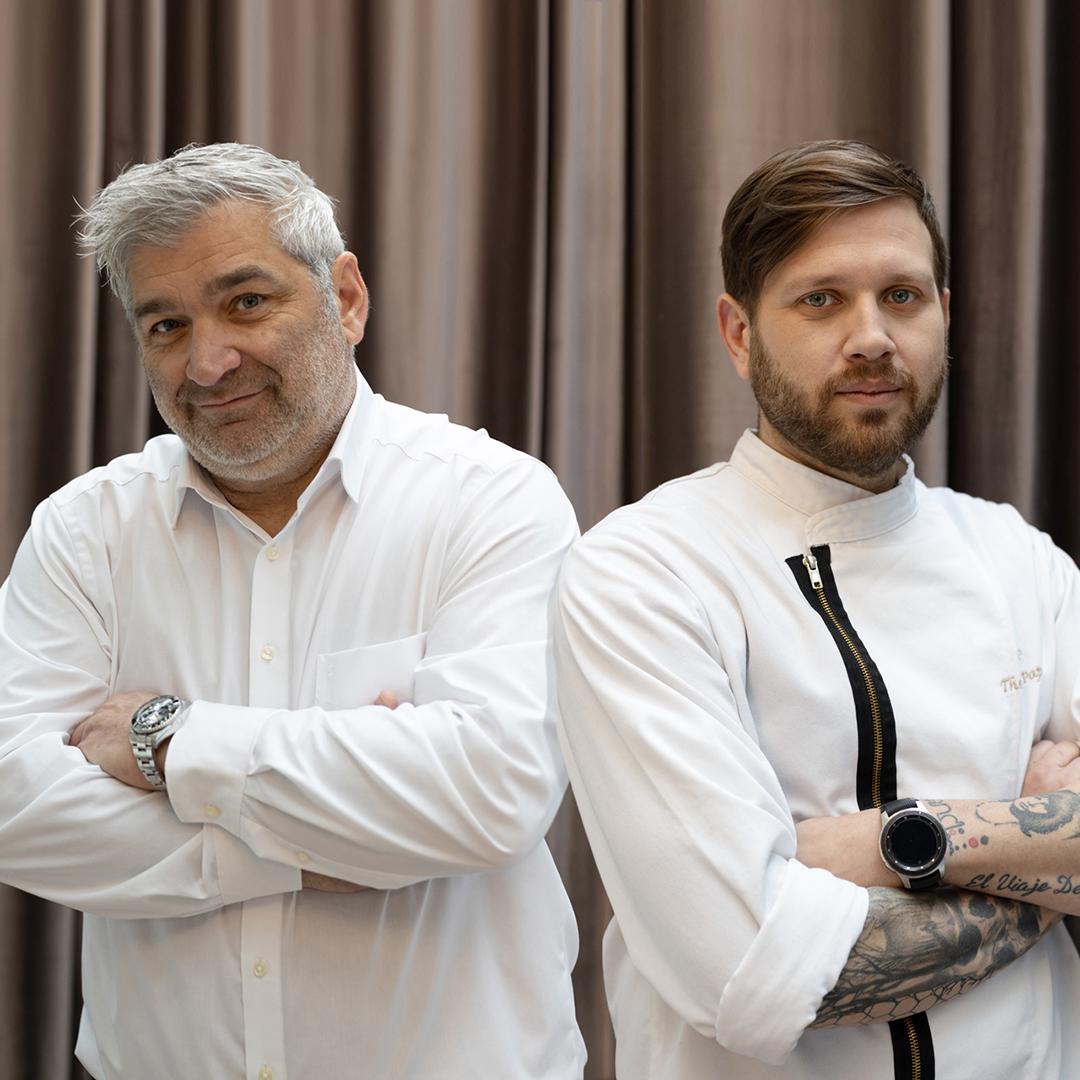 Patron Vasileios Salamanopoulos, Chef Thomas Papas. © Thomas Huber